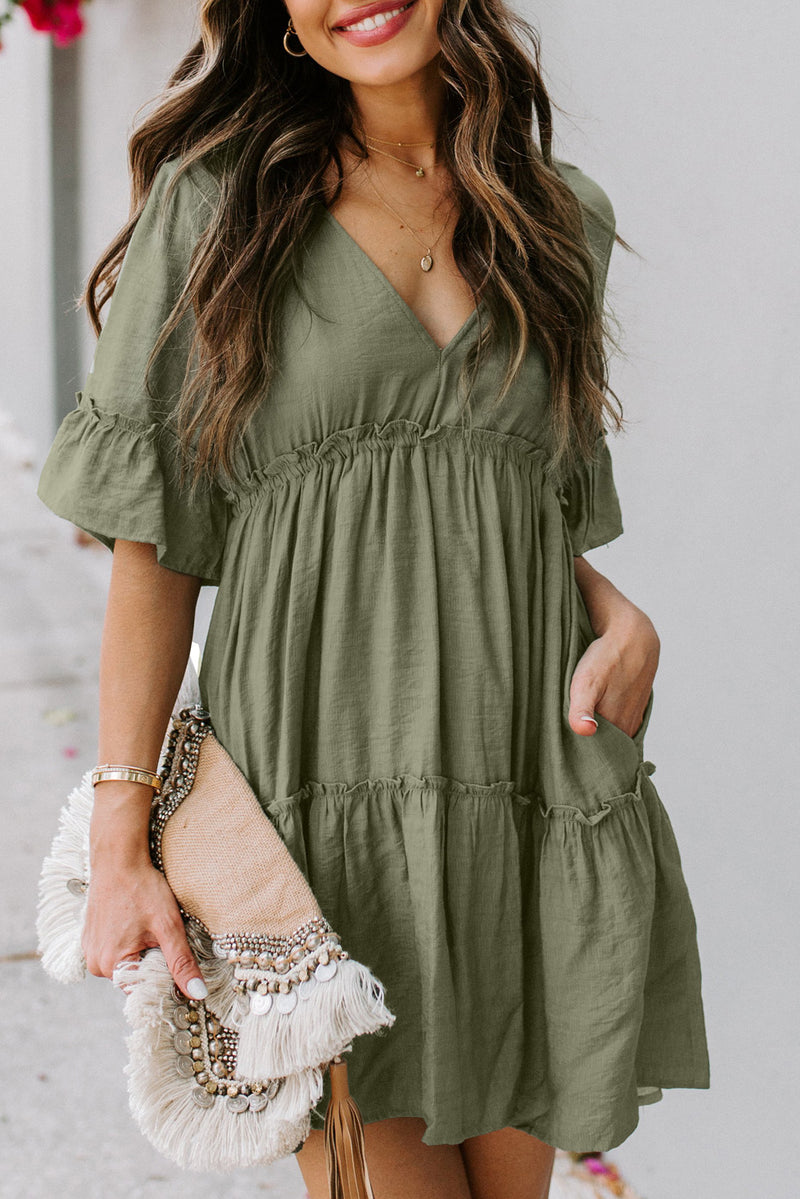 Daydreamer Pocketed Ruffle Tiered Dress Green