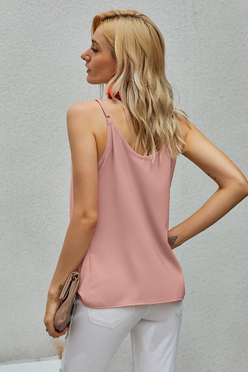 Candy Spaghetti Strap Buttoned Tank Top Pink