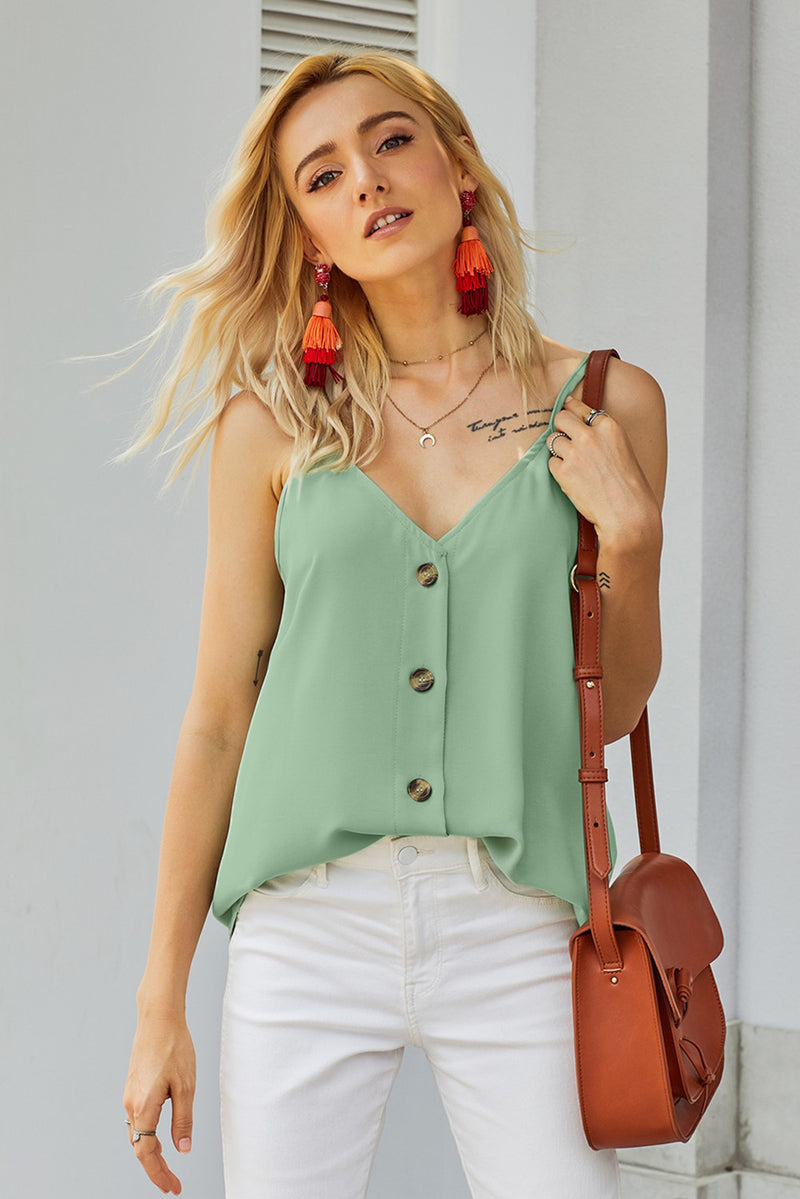Candy Spaghetti Strap Buttoned Tank Top Teal