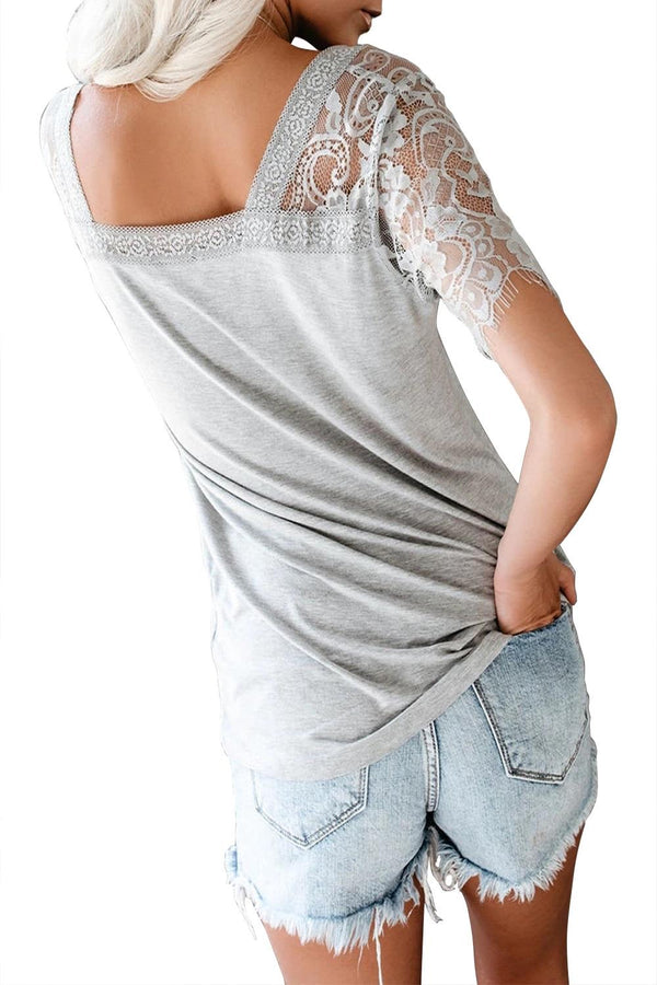 Gray Lace V Neck Top