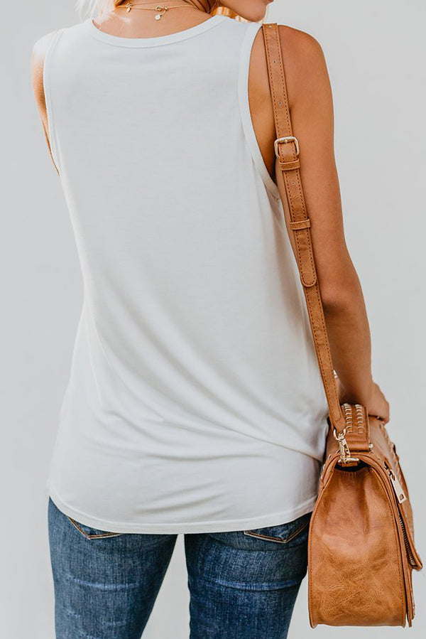White Tank Top with Multicolor Pocket