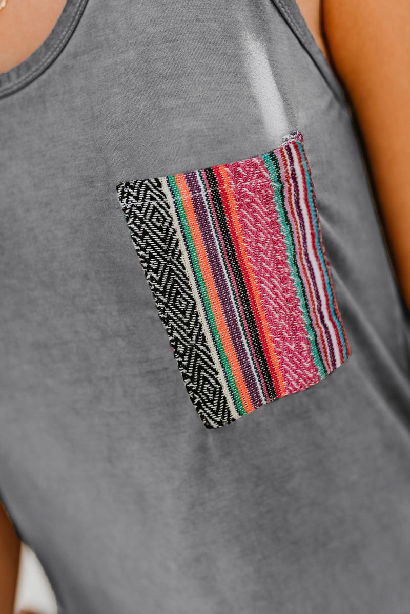 Gray Tank Top with Multicolor Pocket