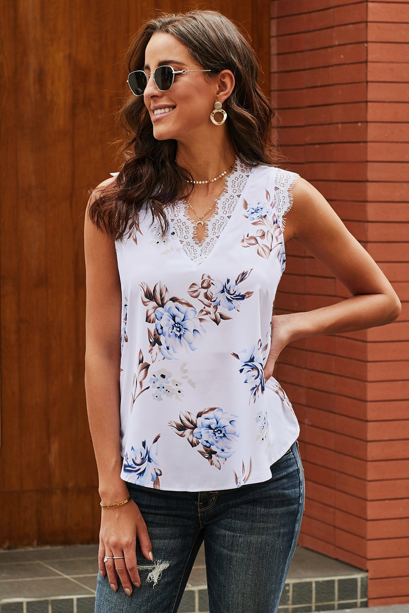 Juniper White Lace Floral Tank