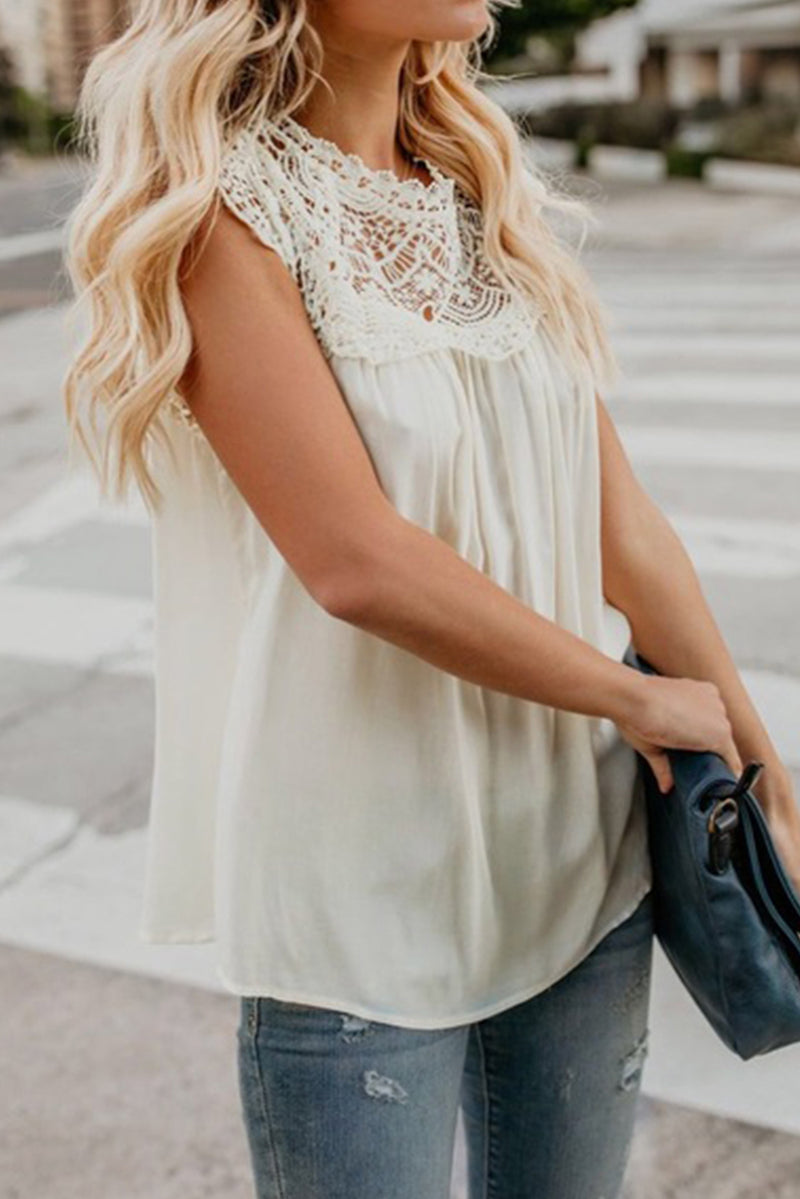 White Crochet Lace Trim Splicing Casual Blouse