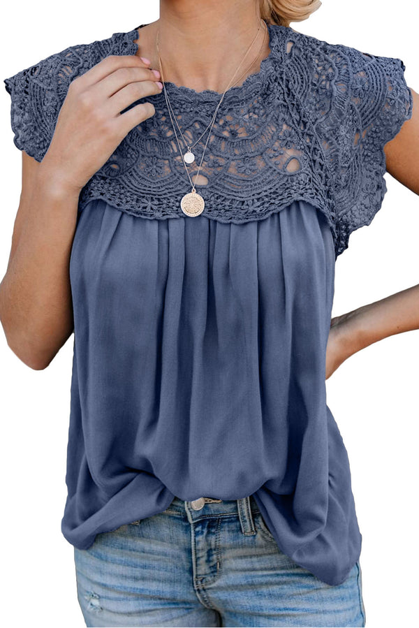 Blue Crochet Lace Trim Top