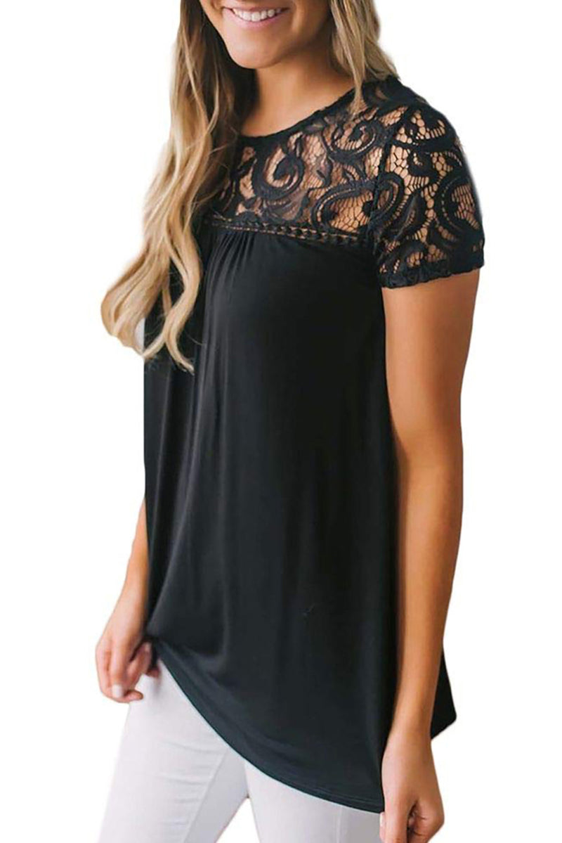 Black Floral Lace Summer Short Sleeve Blouse