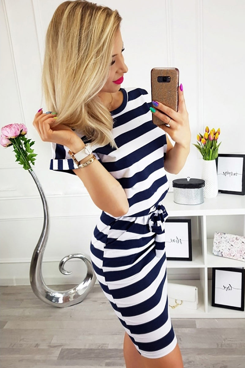 Sail With Me Navy Striped Dress