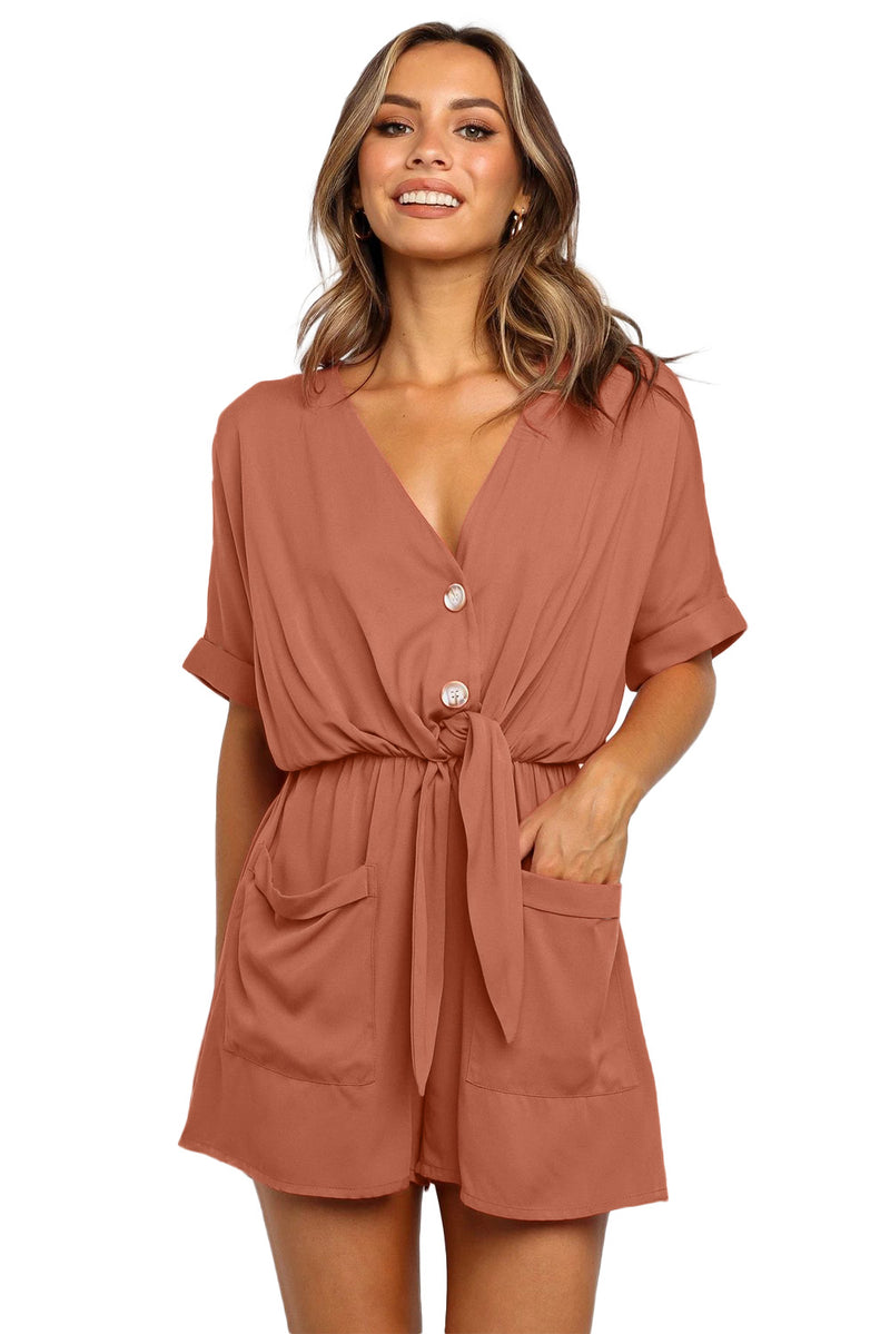 Pink V Neck Tunic Romper with Pockets