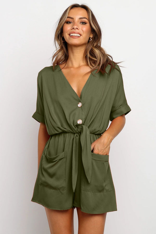 Olive Green V Neck Tunic Romper with Pockets