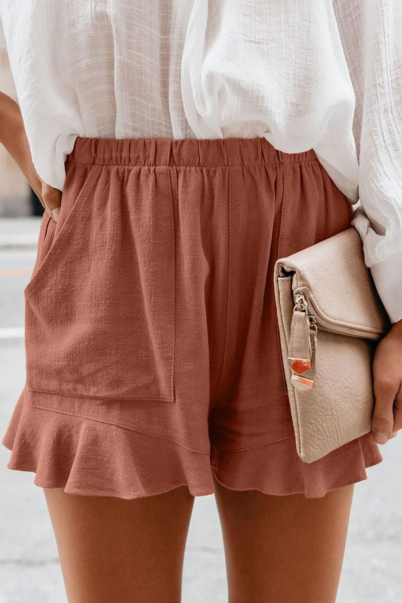 Khaki Linen Cotton Pocketed Flutter Shorts