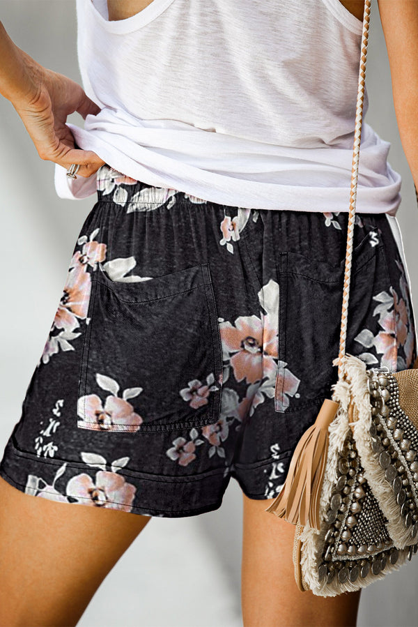 Black Floral Pocketed Shorts