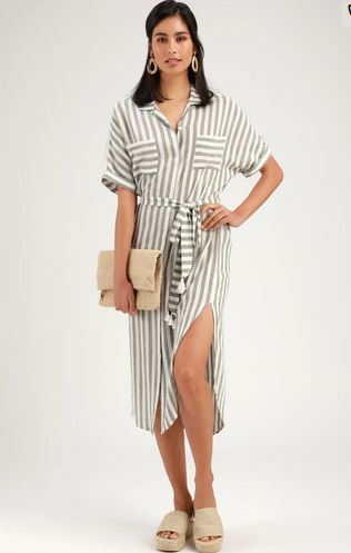 Socialite Kersee Olive White Striped Midi Dress XS