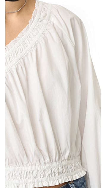 Free People White Annabelle Asymmetrical Top
