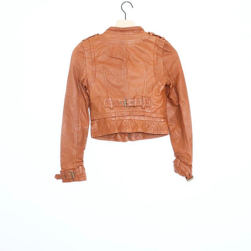 Vero Moda Tan Leather Moto Jacket