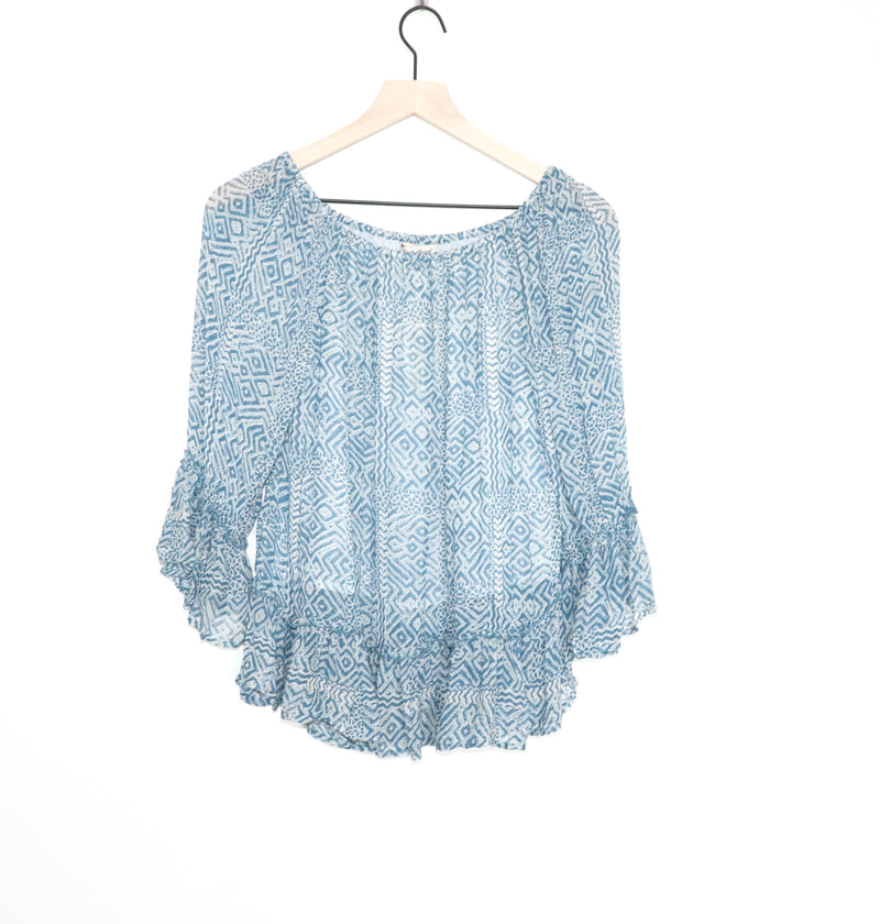 Lucky Brand Blue and Cream Aztec Flowy Top