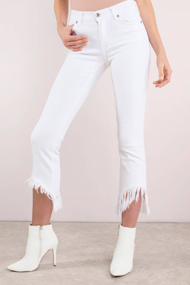 PISTOLA WHITE MID RISE FRAYED DENIM JEANS