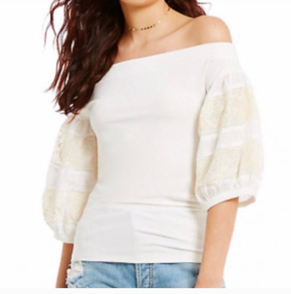 Free People Rock With It Puff Sleeve Blouse