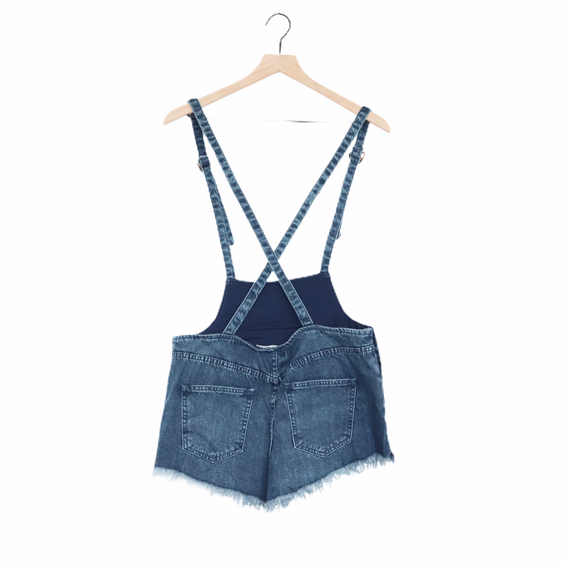 Free People Ocean Blue Denim Shorts Overalls 29