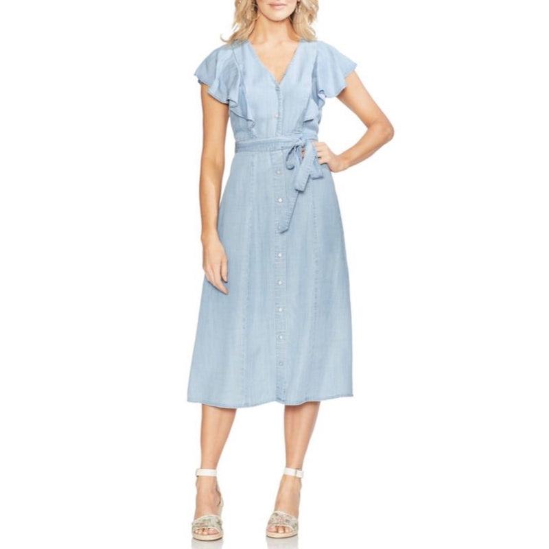 Vince Camuto Chambray Denim Button-front Dress