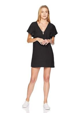 Jack by BB Dakota Rayon Crepe Deep V Dress Black