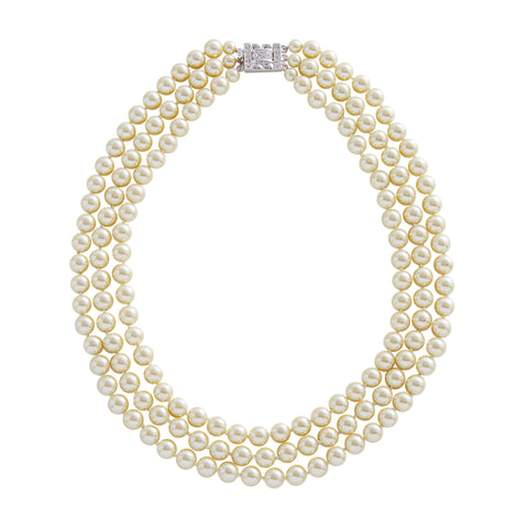 "Jacqueline Kennedy Collection-  Graduated 16"" Faux Pearl Triple Strand Necklace"