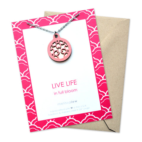 Live Life in Bloom Necklace and Card