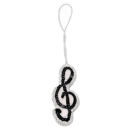 Beaded Treble Clef Ornament