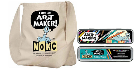 Mo Willems 'lunch doodle' Tote and Pencils Bundle