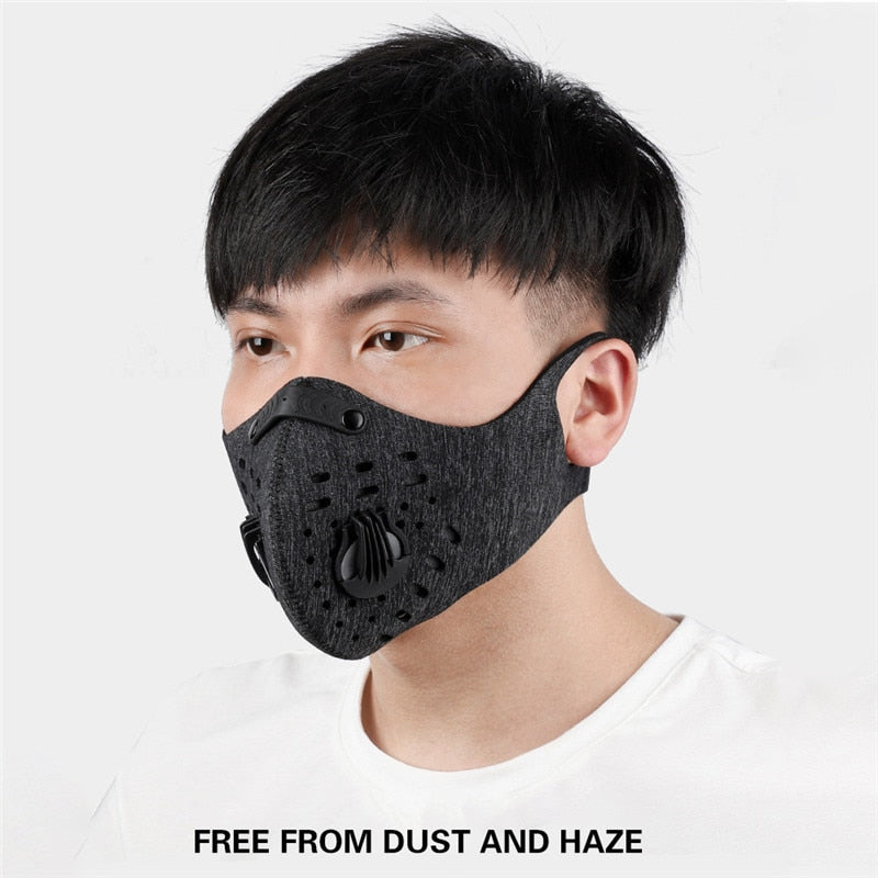 N95 Tablets of Activated Carbon Filter Washable Mask Riding Anti-pollution Sports Training Mask PM2.5 Running Mask Hot Sale