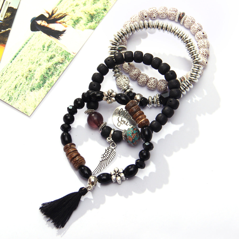 4pcs/set Fashion Multilayer Crystal Lava Stone Beads Wing Tassel Bracelets & Bangles Pulseras Mujer Jewelry for Women Gift