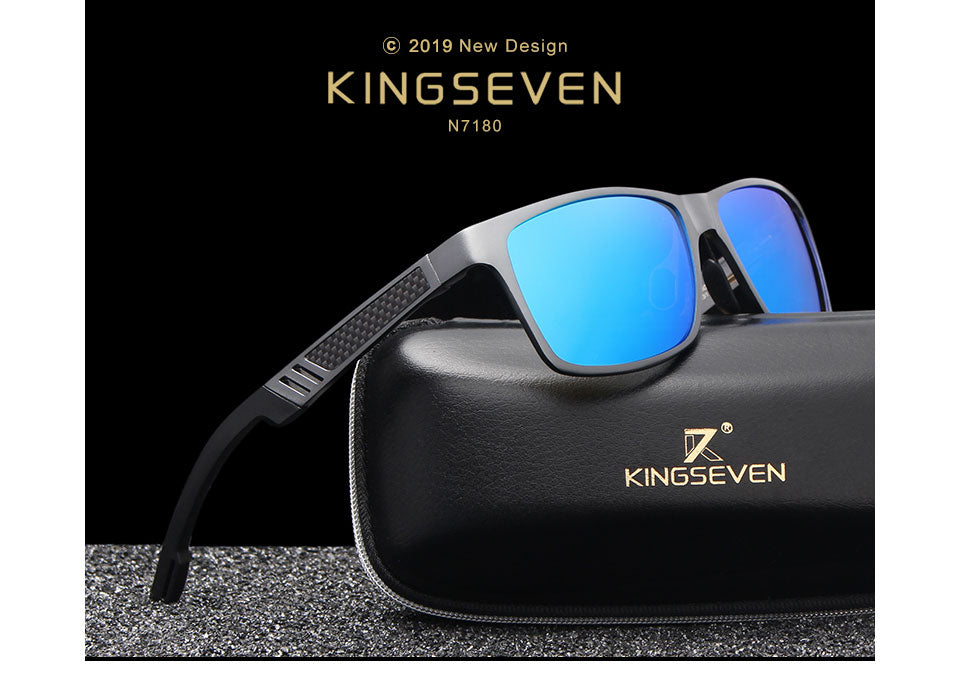 KINGSEVEN Men Polarized Sunglasses Aluminum Magnesium Sun Glasses Driving Glasses Rectangle Shades For Men Oculos masculino Male