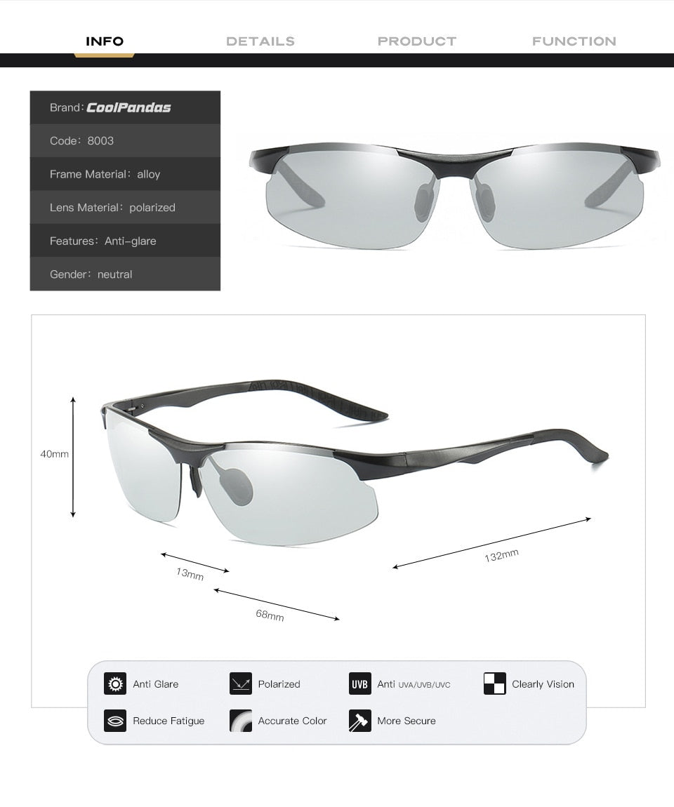 Coolpandas Driving Photochromic Polarized Sunglasses Men Aluminum Day Night Vision Goggles Sun glasses oculos de sol masculino