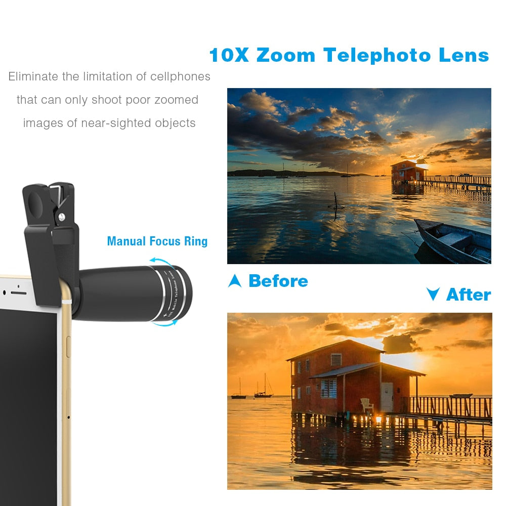 APEXEL 10 in 1  Mobile phone Lens Telephoto Fisheye lens Wide Angle Macro Lens+CPL/Flow/Radial/Star Filter for all smartphones