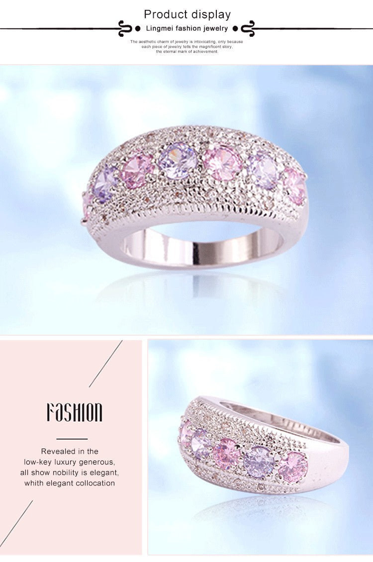lingmei DropShippng Generous Fashion Lady Pink Cubic Zircon Tourmaline Silver Ring Size 6 7 8 9 10 11 12 13 Romantic Jewelry
