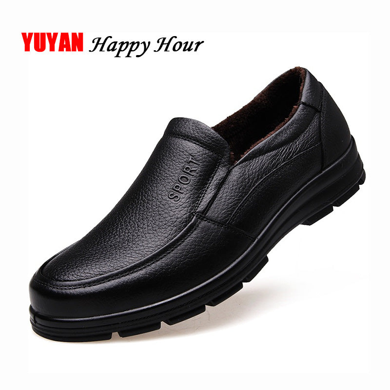 Genuine Leather Shoes Men Winter Shoes Brand Footwear Warm Shoes Plush Mens Casual Shoes Male High Quality Cowhide Loafers KA444