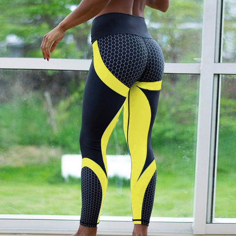 Sexy Mesh Printed Leggings fitness For Women clothing Sporting Workout Leggins mujer Elastic Slim Pants push up