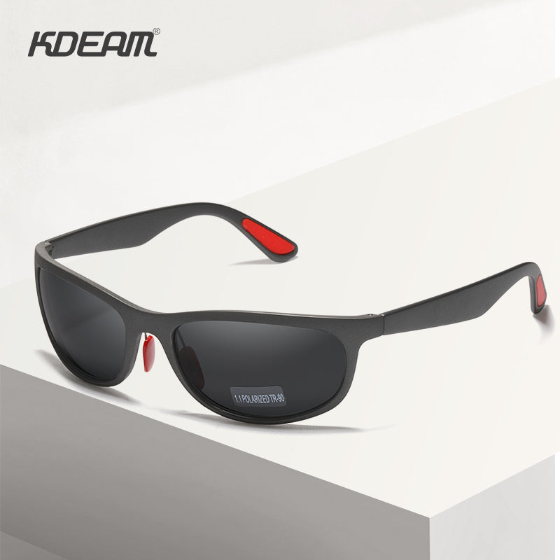 KDEAM Flexible Structure TR90 Men's Sunglasses Polarized Outdoor Glare Free Sun Glasses Black Lenses Rubber Temples Cat.3 KD037