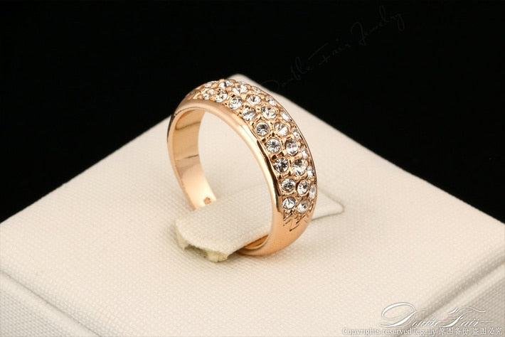 Cubic Zirconia Micro Pave Engagement Rings For Women Rose Gold/Silver Color Crystal Fashion Brand Wedding Jewelry anel DWR061M