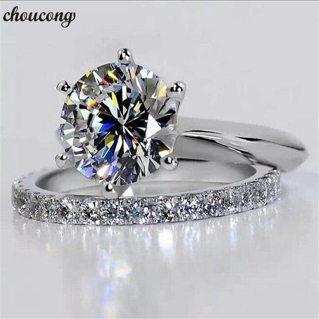 choucong Solitaire Bridal sets Ring 925 sterling Silver Sona 9mm AAAA cz Charm Wedding Band Rings For Women Bridal Party Jewelry