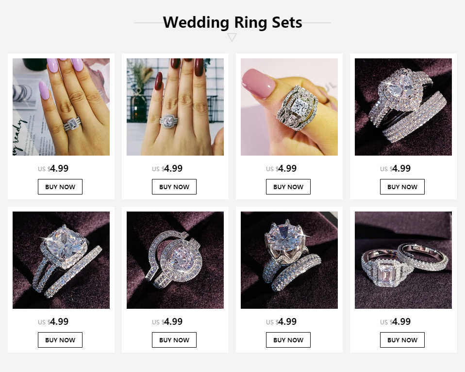 2020 new arrival 925 sterling silver 3 pieces wedding engagement ring sets for women finger fashion band personalized R4324