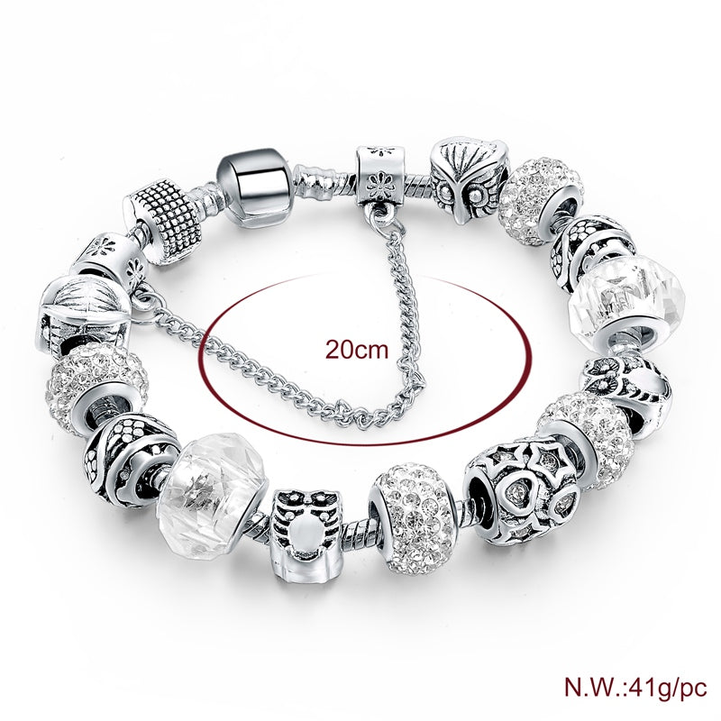ATTRACTTO Natural Life Style Silver Owl Bracelets&Bangles Charms For Women Bracelet Jewelry Making Beads DIY Bracelets Sbr160084