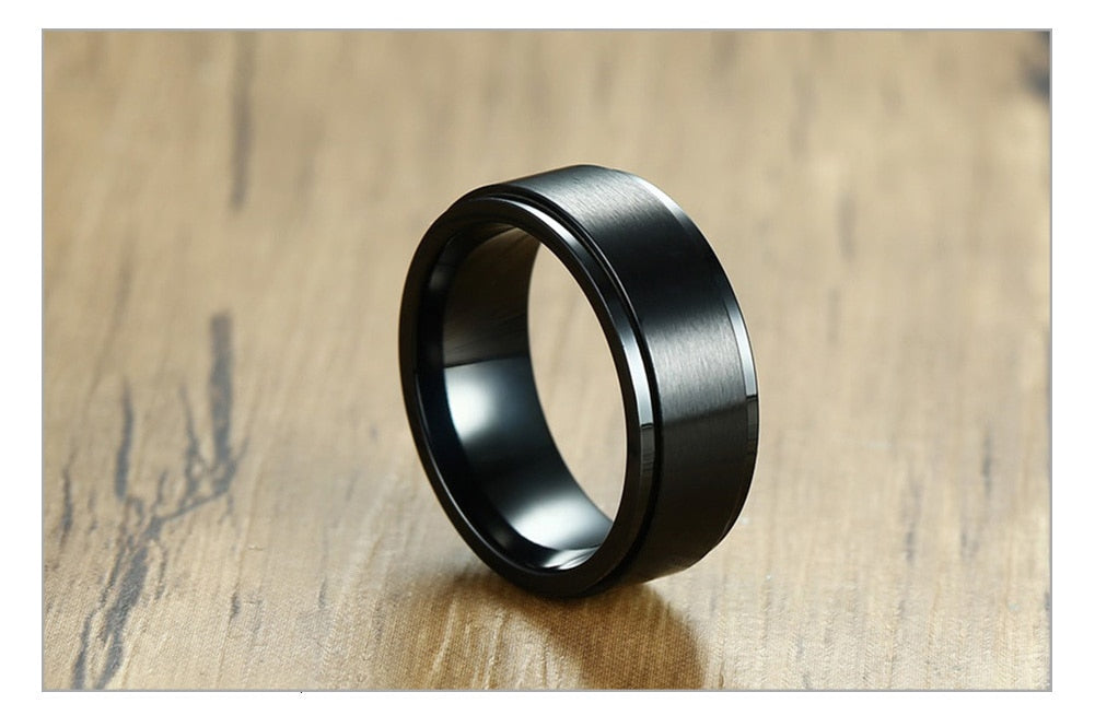 Vnox 8mm Rotatable Basic Ring for Men Black Stainless Steel Casual Male Anel Stylish Punk Spinner Alliance Jewelry