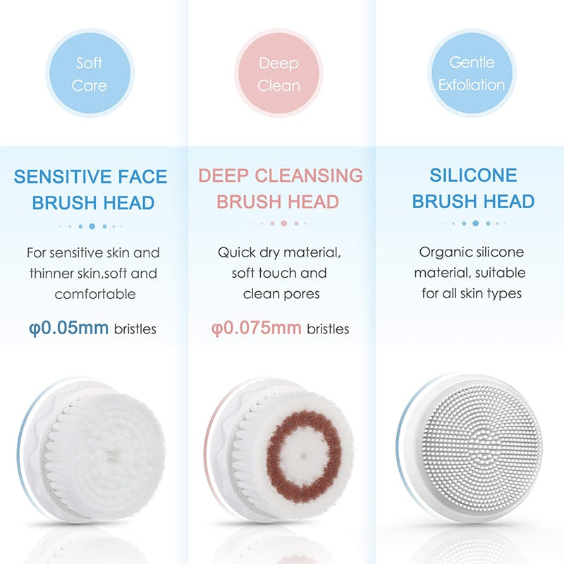 Liberex Facial Cleansing Brush Sonic Electric Face Cleanser Waterproof Soft Deep Pore Massage 3 Heads 3 Modes Wireless Charging