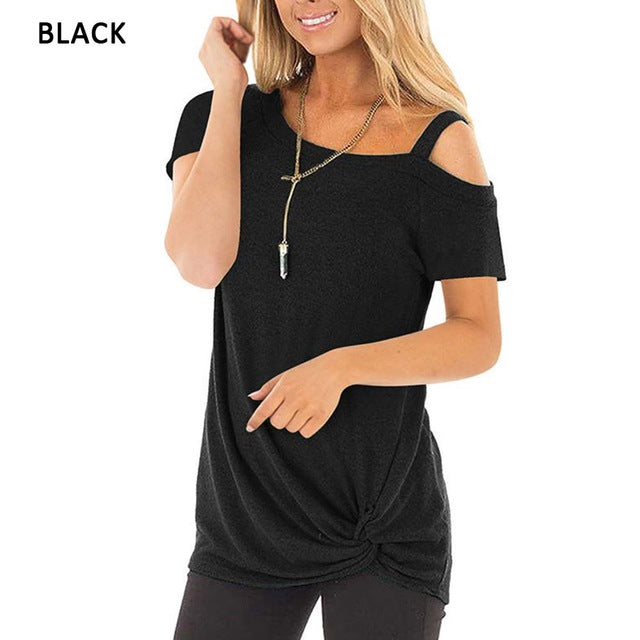 Sexy T Shirt Women Cold-shoulder Short Sleeve 2020 New Summer Tee Shirts Women Clothes Fashion Tie Long Tees Female camiseta