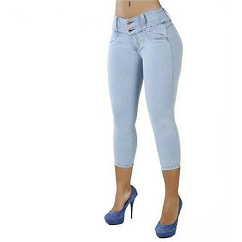 Women Sexy Casual Cropped Pants Solid Color Button Fly Waist Slim Trousers Breathable Elastic Pencil Pants