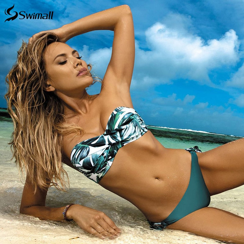 2020 New Leaves Print Bikini Swimsuit Woman Push Up Bikini Set Bandeau Swimwear Bathing Suit Brazilian