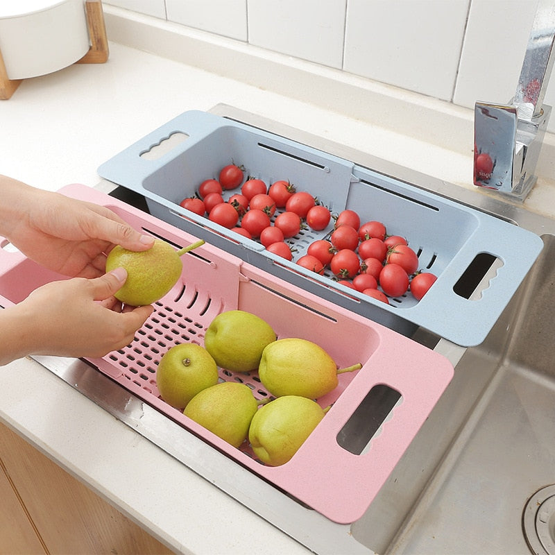 Adjustable Dish Drainer Sink Drain Basket Washing Vegetable Fruit Plastic Drying Rack Kitchen Accessories Organizer H1235