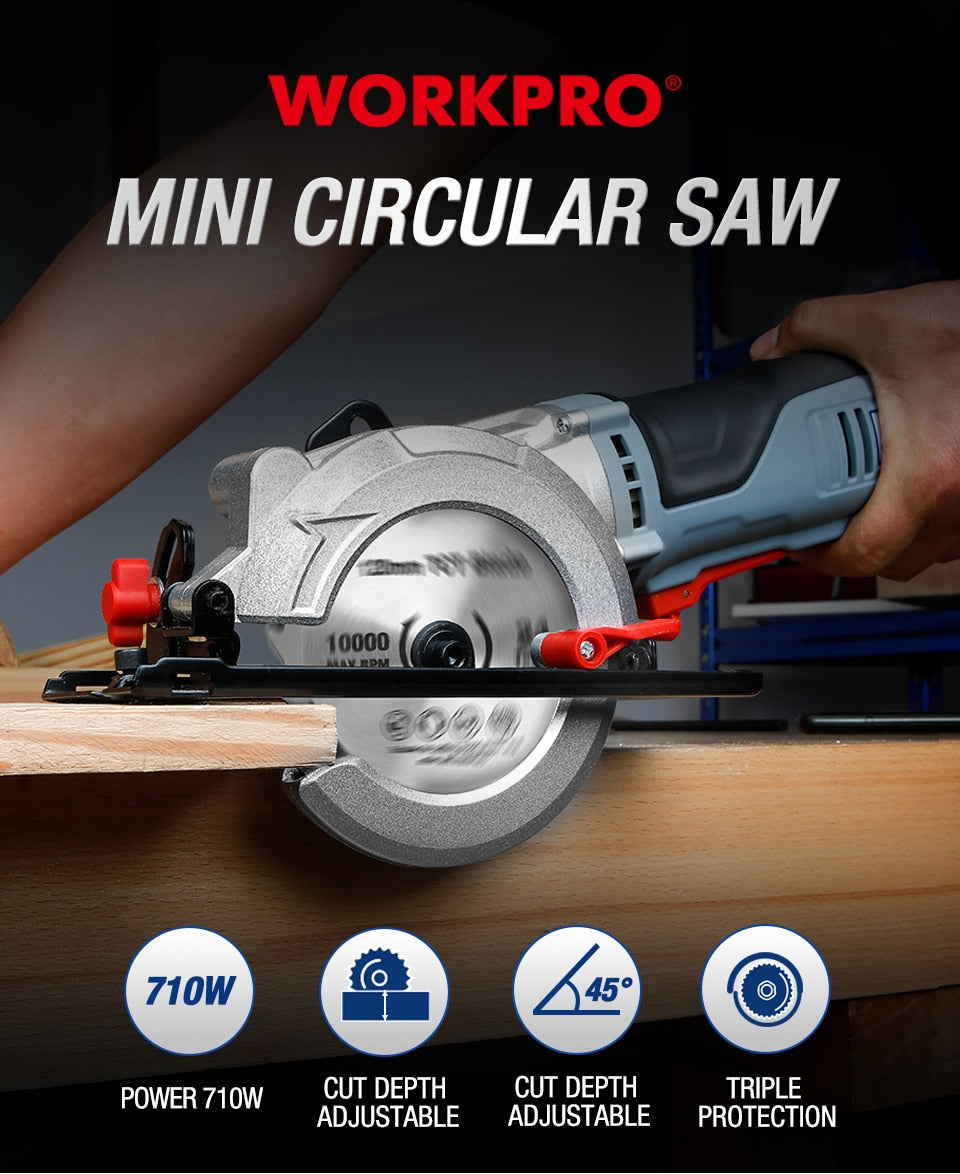 WORKPRO Electric Mini Circular Saw 710W Multifunctional Electric Saw With TCT Blade and Diamond Blade Sawing Machine Power Tools