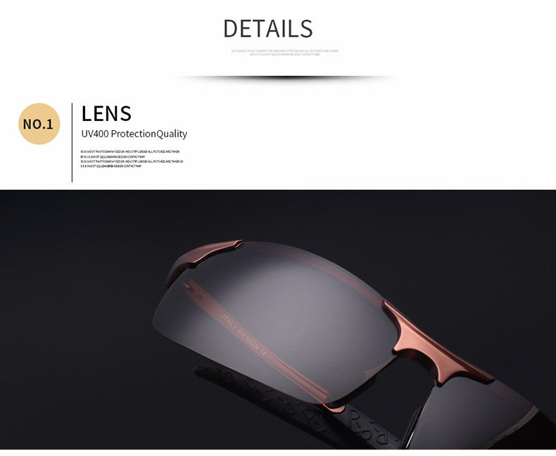 High Quality Ultra-light Aluminum Magnesium Sport Sunglasses Polarized Men UV400 Rectangle Gold Outdoor Driving Sun Glasses