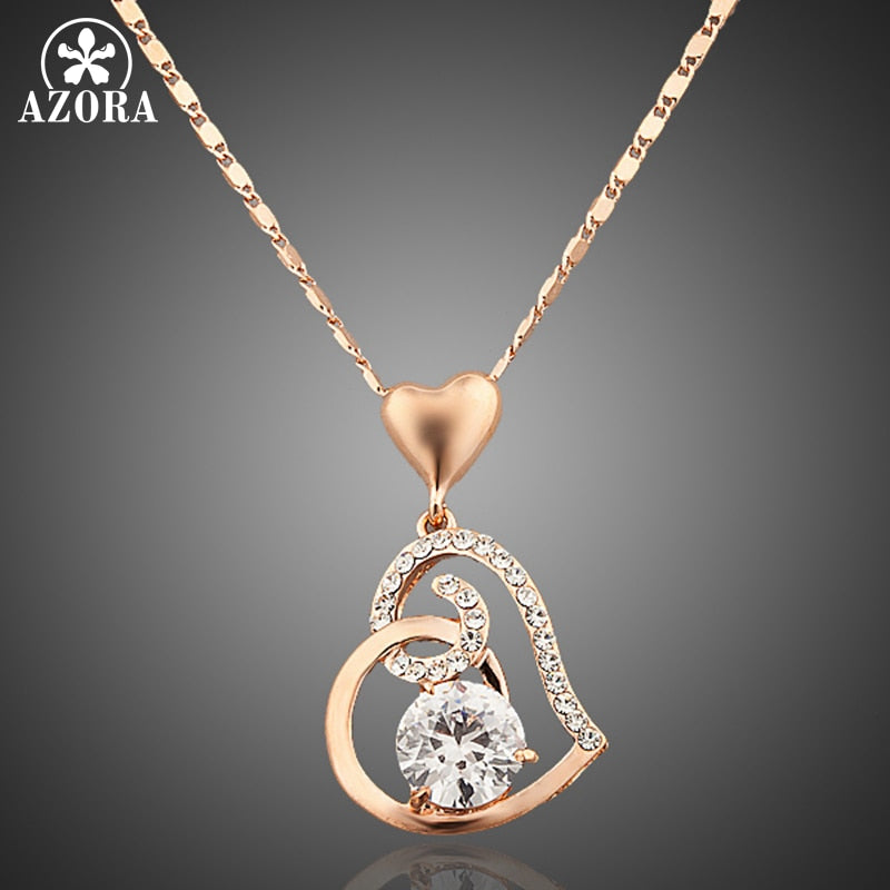 AZORA Rose Gold Color Clear Stellux Austrian Crystals Double Heart Pendant Necklace for Valentine's Day Gift of Love TN0009